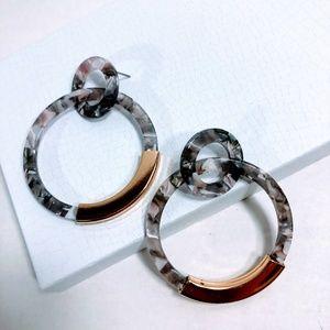 Jewelry - New - Acrylic Double Hoop Earrings - Gray